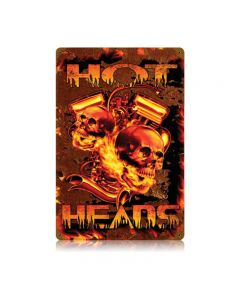 Hot Heads, Motorcycle, Vintage Metal Sign, 12 X 18 Inches