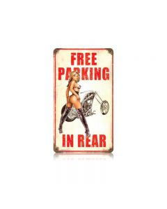 Free Parking, Motorcycle, Vintage Metal Sign, 8 X 14 Inches