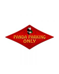 Panda Parking, Street Signs, Diamond Metal Sign, 22 X 14 Inches