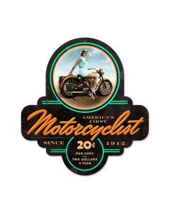 Biker Girl, Motorcycle, Custom Metal Shape, 17 X 18 Inches