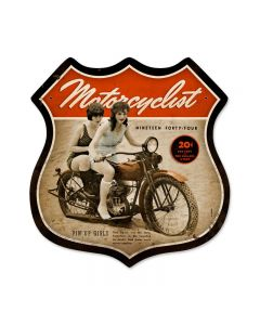 Motorcycle Pinups, Motorcycle, Shield Metal Sign, 16 X 16 Inches