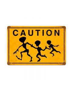 Alien Crossing, Humor, Vintage Metal Sign, 18 X 12 Inches