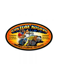 Kustom Kolors, Automotive, Oval Metal Sign, 24 X 14 Inches