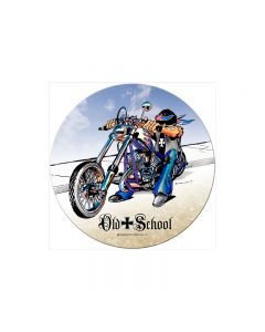 Old School, Motorcycle, Round Metal Sign, 14 X 14 Inches