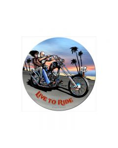 Live to Ride, Motorcycle, Round Metal Sign, 14 X 14 Inches