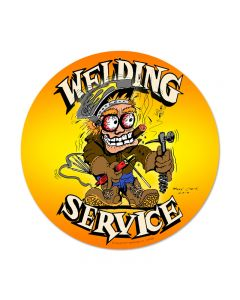 Welding Service, Automotive, Round Metal Sign, 14 X 14 Inches
