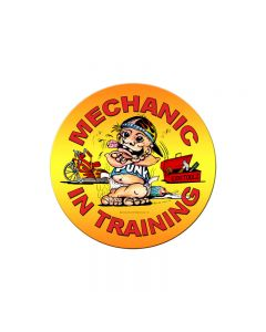 Mechanic in Training, Automotive, Round Metal Sign, 14 X 14 Inches