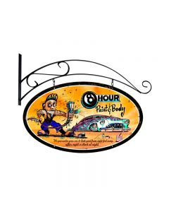8 Hour Paint, Automotive, Double Sided Oval Metal Sign with Wall Mount, 24 X 24 Inches