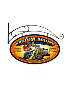 Kustom Kolors, Automotive, Double Sided Oval Metal Sign with Wall Mount, 24 X 24 Inches