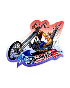 Freedom Flyer, Motorcycle, Custom Metal Shape, 17 X 15 Inches