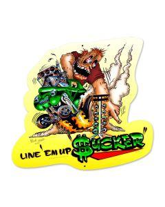 Line Em Up, Automotive, Custom Metal Shape, 16 X 17 Inches