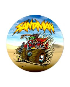 Sand Man, Automotive, Round Metal Sign, 14 X 14 Inches