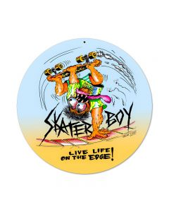 Skater Boy, Sports and Recreation, Round Metal Sign, 14 X 14 Inches