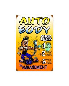Auto Body Shop Rules, Automotive, Vintage Metal Sign, 16 X 24 Inches