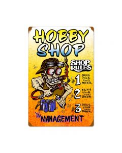 Hobby Shop Rules, Automotive, Vintage Metal Sign, 16 X 24 Inches