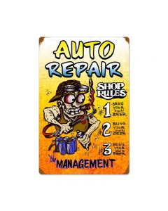 Auto Repair Shop Rules, Automotive, Vintage Metal Sign, 16 X 24 Inches