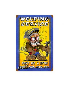 Welding Service, Automotive, Vintage Metal Sign, 16 X 24 Inches