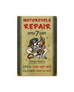 Motorcycle Repair Shop Hours, Motorcycle, Vintage Metal Sign, 16 X 24 Inches