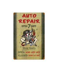 Auto Repair Shop Hours, Automotive, Vintage Metal Sign, 16 X 24 Inches
