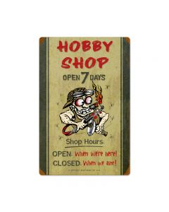 Hobby Shop Hours, Automotive, Vintage Metal Sign, 16 X 24 Inches