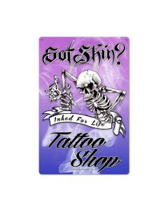Skeleton Tattoo, Humor, Metal Sign, 16 X 24 Inches