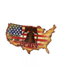 Home Of The Brave, Patriotic, Custom Metal Shape, 25 X 16 Inches