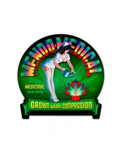 Mendo Medical, Pinup Girls, Round Banner Metal Sign, 16 X 15 Inches