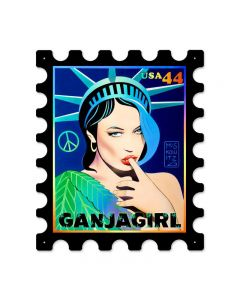 Ganga Girl Postage Stamp, Pinup Girls, Stamp Metal Sign, 16 X 19 Inches