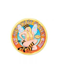 Humboldt Honey, Pinup Girls, Round Metal Sign, 14 X 14 Inches