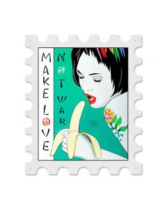 Banana Postage Stamp, Pinup Girls, Stamp Metal Sign, 16 X 19 Inches
