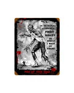 Zombie Love at First Sight Sign, Humor, Vintage Metal Sign, 12 X 15 Inches