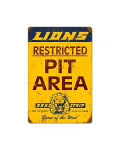 Lions Pit Area, Automotive, Vintage Metal Sign, 12 X 18 Inches