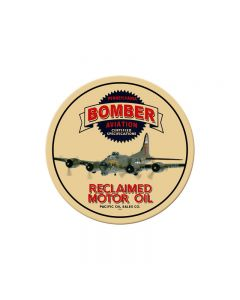 Bomber Reclaimed Oil, Automotive, Round Metal Sign, 14 X 14 Inches