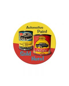 Auto Paint, Automotive, Round Metal Sign, 14 X 14 Inches