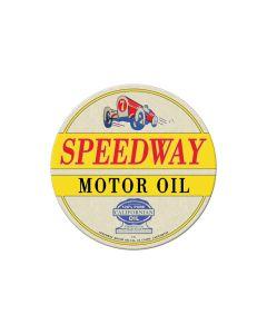Speedway Oil, Automotive, Round Metal Sign, 14 X 14 Inches