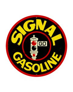 Signal Gasoline, Automotive, Round Metal Sign, 28 X 28 Inches