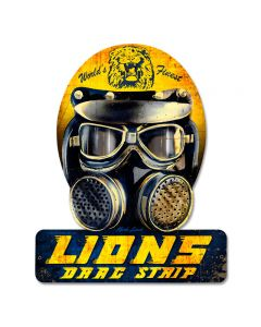 Lions Drag Helmet, Automotive, Helmet Metal Sign, 12 X 15 Inches