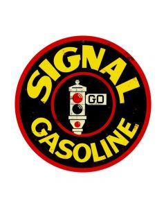 Signal Gas, Automotive, Round Metal Sign, 14 X 14 Inches