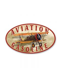 Aviation Gasoline, Aviation, Oval Metal Sign, 14 X 24 Inches