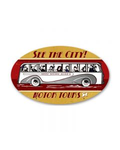 Motor Tours, Automotive, Oval Metal Sign, 14 X 24 Inches