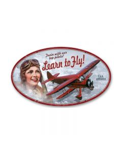 Learn to Fly, Aviation, Oval Metal Sign, 14 X 24 Inches