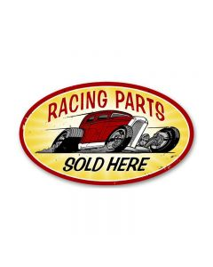 Racing Parts, Automotive, Oval Metal Sign, 14 X 24 Inches