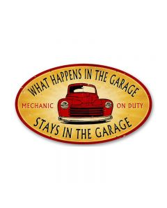 Stays in the Garage, Automotive, Oval Metal Sign, 14 X 24 Inches