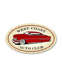 West Coast Auto, Automotive, Oval Metal Sign, 14 X 24 Inches