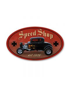 Speed Shop, Automotive, Oval Metal Sign, 14 X 24 Inches