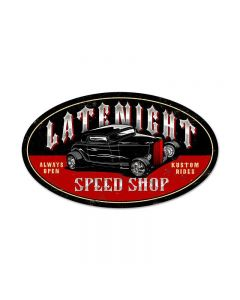 Latenite Speed Shop, Automotive, Oval Metal Sign, 24 X 14 Inches