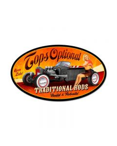 Tops Optional, Automotive, Oval Metal Sign, 24 X 14 Inches