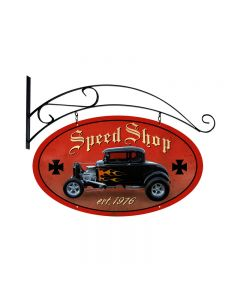 Speed Shop, Automotive, Double Sided Oval Metal Sign with Wall Mount, 24 X 24 Inches