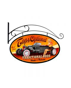 Tops Optional, Automotive, Double Sided Oval Metal Sign with Wall Mount, 24 X 24 Inches