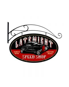 Latenight Speed Shop, Automotive, Double Sided Oval Metal Sign with Wall Mount, 24 X 24 Inches